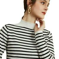 Women's Mock Neck Pullover Cashmere Blend Sweater Striped Fashion Winter Tops D