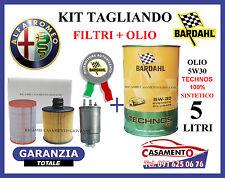 KIT TAGLIANDO FILTRI + OLIO BARDAHL 5W30 5LT ALFA GIULIETTA 1.6 JTD