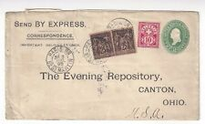 1895 Paris France to Canton Ohio, Swiss stamp on US Stationery Entire