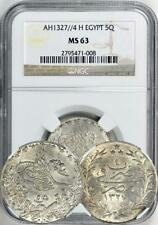 EGYPT SILVER 5 QIRSH AH1327 YEAR 4 (1912). NGC MS-63. ONE OF THE HIGHEST GRADED!