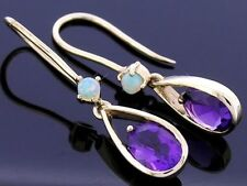E062- Genuine 9K 9ct Solid Yellow Gold Natural Amethyst & Opal Drop Earrings