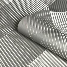 Geometric Stripes Grey Metallic Wallpaper Suede Effect Belgravia Decor Hoxton
