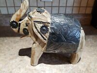 Vintage Wooden Elephant Hand Made Metal Flower Figurine Asia Circus Africa Carve