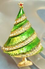 VINTAGE PRETTY WEISS GOLD PLATED GREEN ENAMEL CRYSTAL CHRISTMAS TREE BROOCH