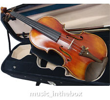 Beautiful 4/4 Oil Varnished Flamed w/ Rosewood Accessories Violin+Bow+Case#AQ-77