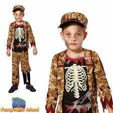 Skeleton Boy Soldier Bones Halloween Horror Zombie Boys Fancy Dress Costume