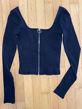 Girls Hollister Crop Top Zipper Front Black Ribbed Scoop Neck Zip Up Medium M
