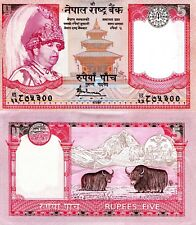 NEPAL 5 Rupees Banknote World Money Currency Asia Note p53b Sign 16 Yak Bill