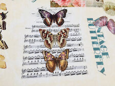 Vintage Butterfly Music Notes Fabric Cotton Material Curtain -280cm extra wide