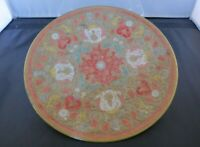 Vintage Indian Asian Brass Enamelled Plate Dish Floral Pattern
