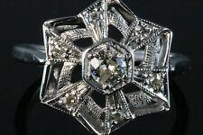 Art Deco .48 ct Old European Diamond 14K White Gold Filigree Ring Sz.7.5
