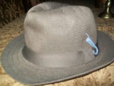 PL Men's Canvas Fedora Bucket Hat Cap Lid Dome Brown Poly Men's Small Trilby S