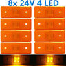 8x Amber 4 LED 24V Trailer Indicator Side Marker Light Lamp Car Boat Truck Lorry