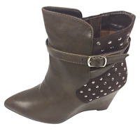 Womens Ladies Coffee Faux Leather High Wedge Heel Shoes Ankle Boots Size 8 New