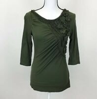 Deletta Anthropologie Olive Green Shirt Floral Ruched Detail Size Small