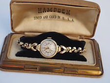 Antique Art Deco HAMPDEN Solid 14k Gold Swiss Lady Wrist Watch with Original Box