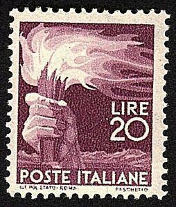 Italia 1945 : Democratica - L. 20 - nuovo non linguellato, MNH**