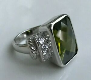 13.2G GUESS GC .925 Sterling Silver VERY NICE Beautiful Green Gemstone Ring SZ 5