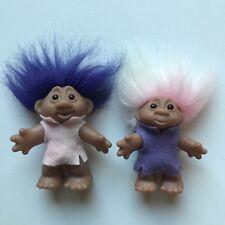 """Norfin Troll Dolls 1986 Thomas DAM 5"""" Purple Hair 4.5"""" Pink Hair"""