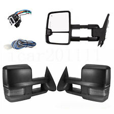 For 07-13 Silverado Power Tow Mirror Set Heated Smoked Lamp Cover Black Housing