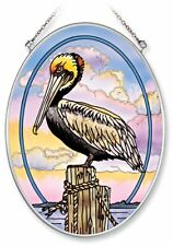 Amia Hand Painted Glass Suncatcher with Pelican Design, 5-1/4-Inch by 7-Inch Ova