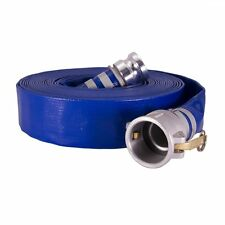 """6"""" x 50ft Water discharge hose w/Camlock fittings Blue PVC"""