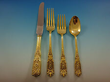Milburn Rose by Westmorland Sterling Silver Flatware Service 8 Set Gold 32 Pc