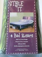 Set Of 4 STYLE IT Bed Risers Lifts Black Square Holds Up to 500 Pounds New