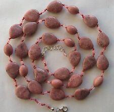 Collana lunga gocce rodonite e sfere sfaccettate quarzo rosa Argento 925