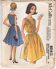 Dress Sleeveless Smocking Gored Skirt McCalls Sewing Pattern 6614 FF 1962