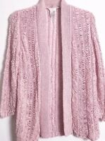 Chicos Pale Pink Open Front Cardigan Size 0 Small Light Pink Cardigan Open Knit