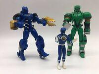 Power Rangers Action Figures JUNGLE FURY BLUE & GREEN 2007 Bandai Retro Toy