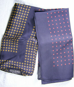 Group (2) Vintage Silk Mens Handkerchiefs - Brooks Brothers