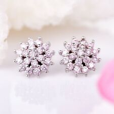 Earrings Silver Ear Stud Xmas Gift Antique Women Pink Cubic Zirconia Snowflake