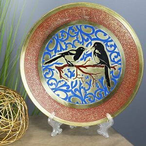 Natural Geo Birds on a Branch Decorative Brass Accent Plate