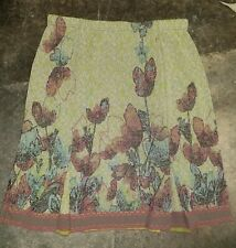CATHERINE ANDRE MULTI COLORED GREEN FLORAL 2 SLIT FRONT PENCIL SKIRT SZ XL