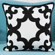18'' Black & White Abstract/Geometric Cotton Canvas Pillow Cushion Cover HB7