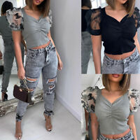 Women's Mesh Sheer Puff Short Sleeve Tops T Shirt Summer Casual Slim Blouse Tops