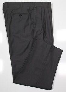 Brioni Solid Dark Gray Pleated Wool Dress Pants Trousers 38 x 30
