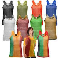 Men's/Unisex/Kid's AMIR String Vest Gym Tank Top Summer Mesh Premium 100% Cotton