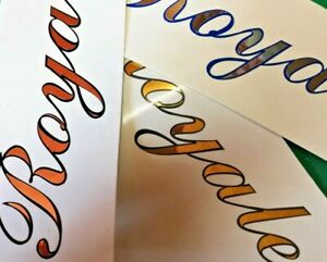 Mirror Chrome outlined vinyl decals sticker letters and numbers for Boat name