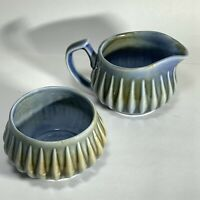 VTG Wade Irish Porcelain CREAMER SUGAR SET Small RAINDROP James Borsey Blue Grn