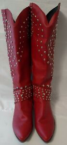 """Women's Pointy Toe red with studs,  19"""" high Boots. Size.  9.5"""