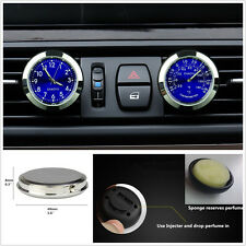 Blue Dial Car Offroad A/C Vent Clip Clock&Thermometer Kit Perfume Refill Storage
