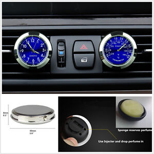 Blue Dial Car Offroad A/C Vent Clip Clock Thermometer Kit Perfume Refill Storage