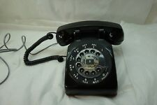 VINTAGE TELEPHONE ROTARY BLACK DESK PHONE WESTERN ELECTRIC MODEL 500 WORKS NICE