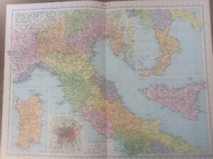 Vintage Antique 1939 Philips Map 20x15 Italy Rome