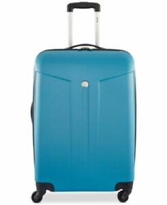 """$480 New DELSEY Paris Comete 24 """" Expandable 4 Wheel Spinner Luggage Teal Blue"""