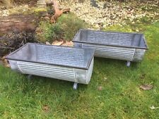 2 Trough Vintage Style Grey Zinc Galvanised Metal Garden Planter Flower Tub Pot