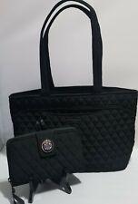 SET Vera Bradley Mandy Tote Bag & RFID Turnlock Wallet CLASSIC BLACK